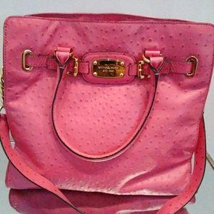 Large Pink Michael Kors Ostrich Leather Handbag